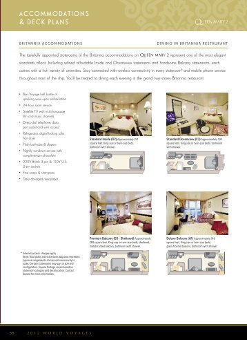Accommodations & deck plans - Official Cunard Line Commodore ...