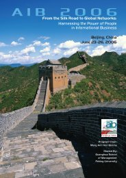 AIB 2006 Annual Conference Program - Academy of International ...