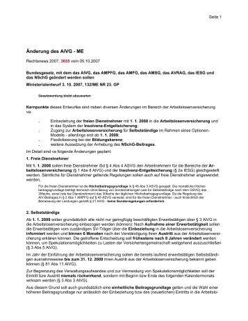 Änderung des AlVG - Wolf & Partner