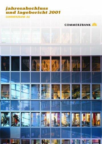 jahresabschluss und lagebericht 2001 commerzbank ag