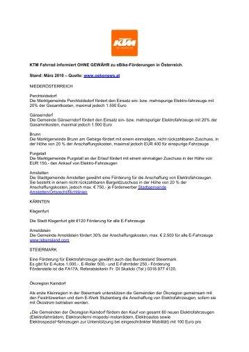 Fördurung ebikes Österreich März