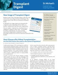 Transplant Digest - Fall 2010, Issue No. 9 - St. Michael's Hospital