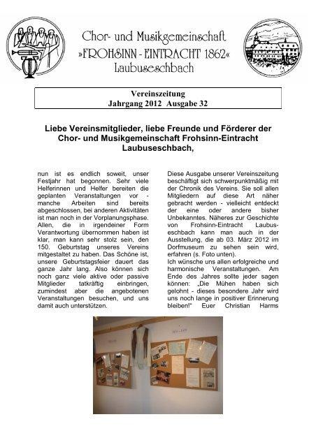 Vereinszeitung Jahrgang 2012 Ausgabe 32 Liebe Vereinsmitglieder