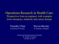 Operations Research in Health Care - St. Michael's Hospital