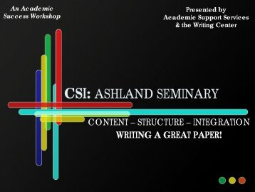 CSI: ASHLAND SEMINARY - Ashland Theological Seminary