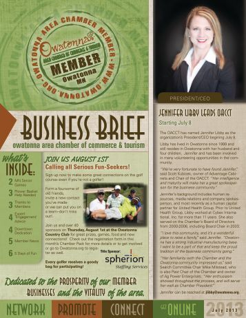 July 2013 - Owatonna Chamber of Commerce and Tourism