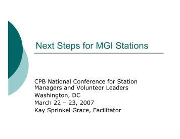 Next Steps for MGI Stations - Major Giving Initiative
