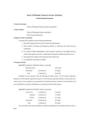 Doctor of Philosophy Program in Systems Agriculture An ...