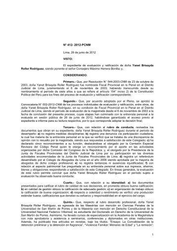 Resolución N° 412-2012-PCNM Yanet Roller Rodriguez - Consejo ...