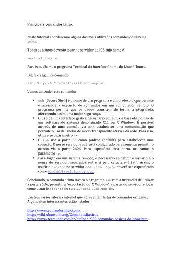 Tutorial Comandos Linux - Coccidia.icb.usp.br
