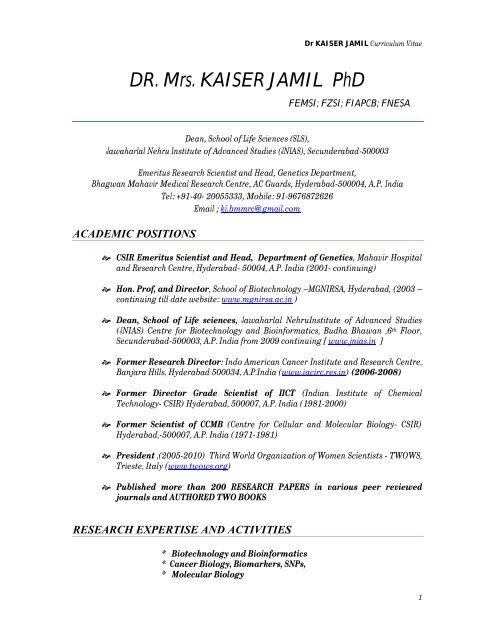 Dr Mrs Kaiser Jamil Phd Jnias