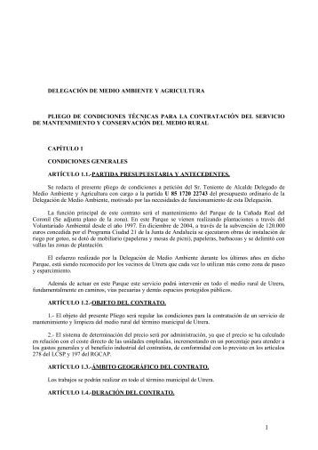 Pliego prescripciones técnicas - Ayuntamiento de Utrera