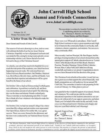 Winter 2007 Newsletter - John Carroll Catholic High School