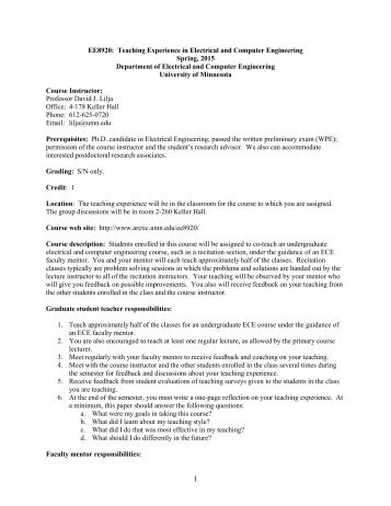 syllabus - University of Minnesota
