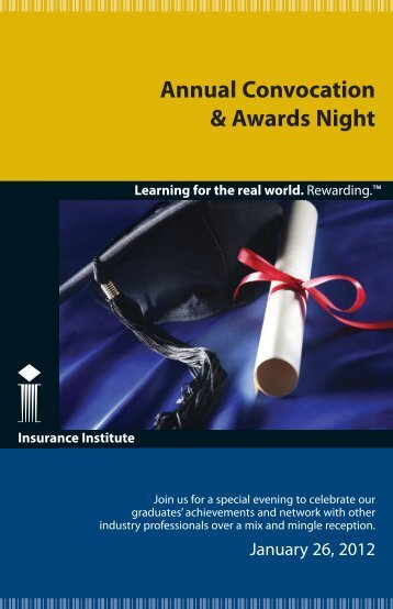 Annual Convocation & Awards Night - Insurance Institute of Canada