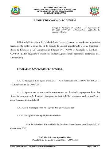 Resolução Nº 004/2012 - CONSUNI - Unemat
