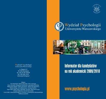Informator dla kandydatów na rok 2009/2010 - Wydział Psychologii ...