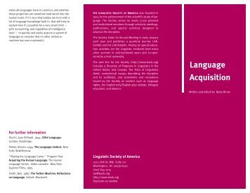 Language Acquisition - Linguistic Society of America