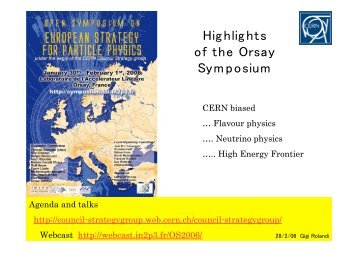 Highlights of the Orsay Symposium - CERN