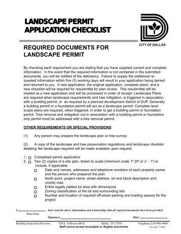 LANDSCAPE PERMIT APPLICATION CHECKLIST - City of Dallas