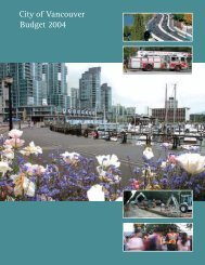 City of Vancouver Budget 2004 - Affiliated Research Economics
