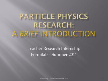 Particle Physics Research - Fermilab