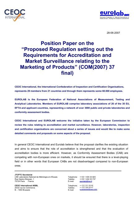 "Position Paper on the ""Proposed Regulation setting out the"
