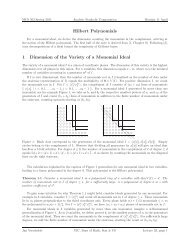Hilbert Polynomials 1 Dimension of the Variety of a Monomial Ideal