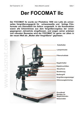 Der Focomat IIc - Hans Albrecht Lusznat