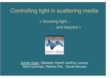 Controlling light in scattering media