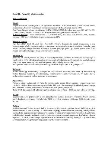Case IH – Puma 125 Multicontroller Dane techniczne ... - Tech-Kom