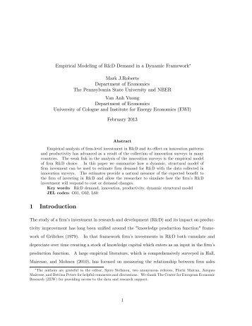 Empirical Modeling of R&D Demand in a Dynamic Framework
