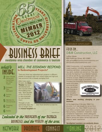 November 2012 - Owatonna Chamber of Commerce and Tourism