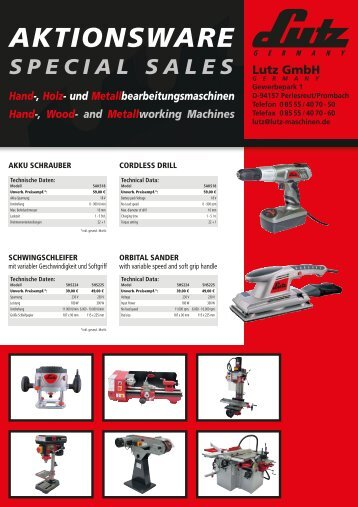 und Metallbearbeitungsmaschinen Hand-, Wood - LUTZ MASCHINEN