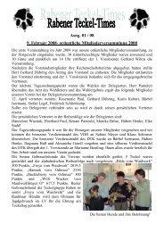 Rabener Stammbuch-Statistik - Teckelgruppe Raben