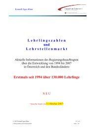 Lehrlingszahlen und Lehrstellenmarkt - Egon Blum