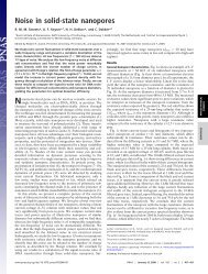 Noise in solid-state nanopores - Cees Dekker Lab