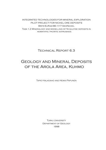 Geology and mineral deposits of the Arola area, Kuhmo - Geological ...