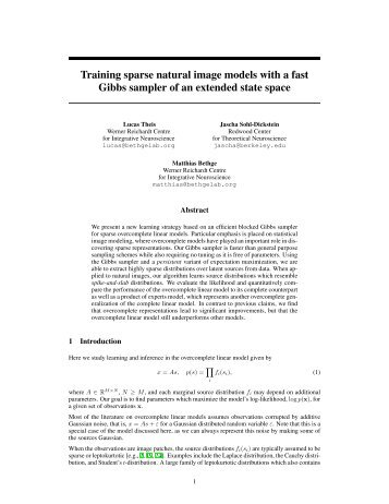 Training sparse natural image models with a fast Gibbs sampler of ...
