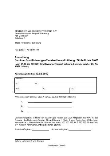 Download Anmeldung Seminar Stufe II im Bayerwald Tierpark ...