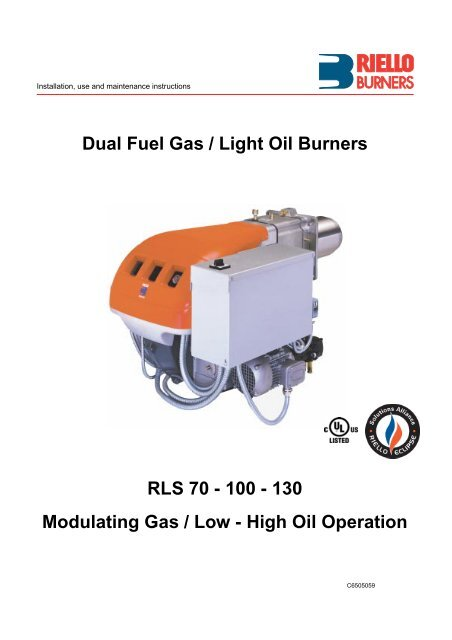 Dual Fuel Gas / Light Oil Burners RLS 70 - Power Equipment ... Abc For Oil Burner Wiring Diagram on