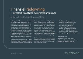 Finansiel rådgivning - Plesner