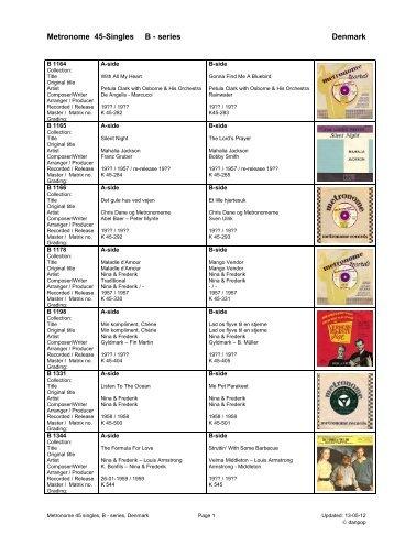 Metronome label B series 45 singles diskografi - danpop.dk
