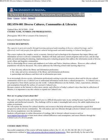 IRLS554-001 Diverse Cultures, Communities & Libraries | School of ...