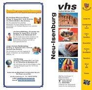 Programmheft Herbst Winter 2013 - Volkshochschule Neu-Isenburg
