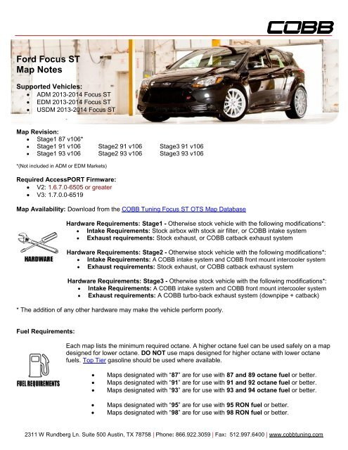 Ford Focus ST Map Notes - Cobb Tuning