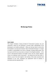 Brokerage Rules - Tokyo Commodity Exchange (TOCOM)