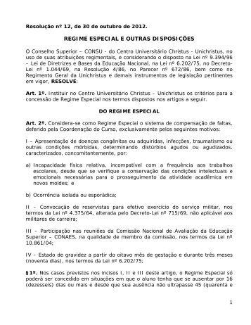 Regulamento de Regime Especial - Faculdade Christus