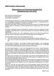Stellungnahme der CDU zum Haushalt 2010 - bei dem CDU ...