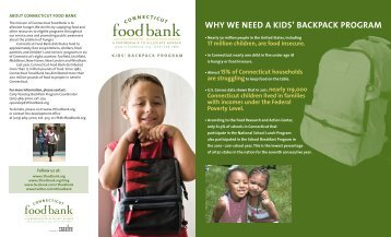 Kids' BackPack Program brochure. - Connecticut Food Bank